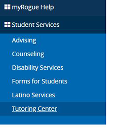 Student Services Tutoring link on myRogue navigation