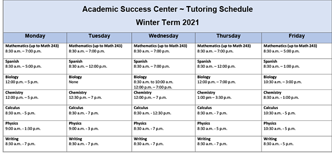 tutor schedule winter 2021